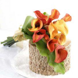10 Orange Cala Lilies Handbouquet with Bird's Nest Fern