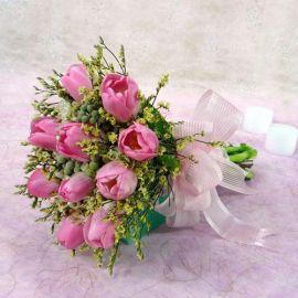 10 Pink Tulips Handbouquet