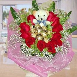 11 Red Roses with 9 Ferrero Rochers and Bear Handbouquet