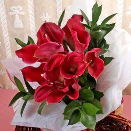 12 Dark Red Calla Lilies Hand Bouquet