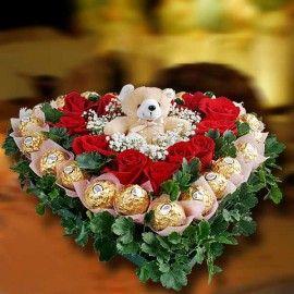 Deepavali Beary Rocher Roses Table Arrangement