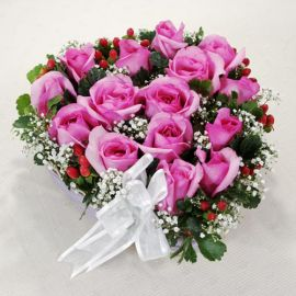 15 Hot-Pink Heart Shape Table Arrangement