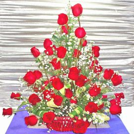 36 Red Roses Table Arrangement