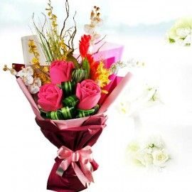 3 Plush Giant Roses ( 15cm ) With Artificial Orchids Hand Bouque