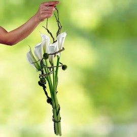 5 White Calla Lilies Hand Carry bouquet