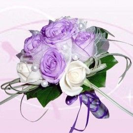 6 Purple 6 White Roses Special Hand Bouquet
