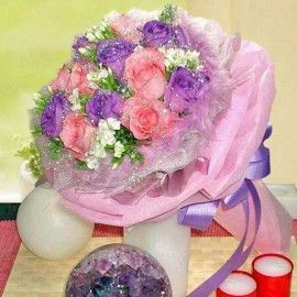 6 Purple And 6 Peach Roses Hand Bouquet With White Sweet William