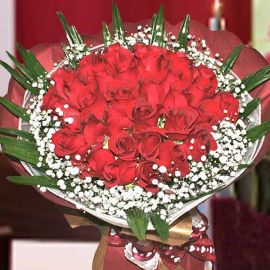 99 Red Roses Hand Bouquet w/ 2Tone Red/Gold Color Wrapper