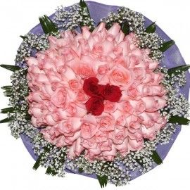 99 Roses Hand Bouquet ( 96 Peach & 3 Red Roses )