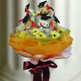 9 Mini Graduation Bear & Artificial Flowers