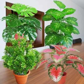 "4 Assorted Small Artificial Plants 18"" Height"