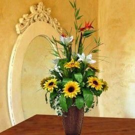 Artificial Birds of Paradise & Sunflowers Arrangement