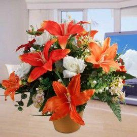 Artificial Orange Lilies & White Roses Table Arrangement