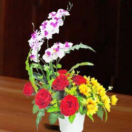 Artificial Sunflower & Red Roses Arrangement.