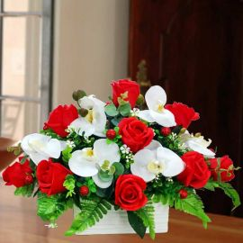 Artificial Phalaenopsis Orchid & Red Roses Flowers Table Arrangement