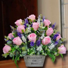 Artificial Pink Rose & Lavender Table Arrangement