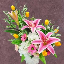 Artificial Lily & Tulip Flowers Table Arrangement About 50cm Height
