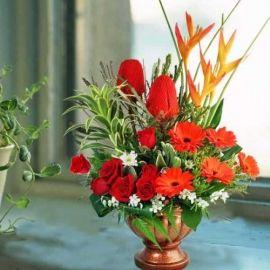 Banksia, Gerbera & Roses Table Arrangement