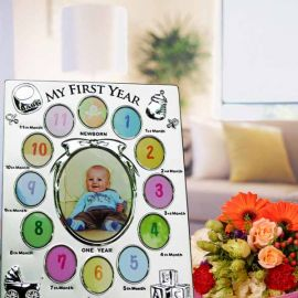 Monthly Miniature Gallery Baby Photo Frame Gift Set (Silver-Plated)