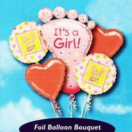 Add On First Footstep Baby Girl Balloon Bouquet ( 5pcs )
