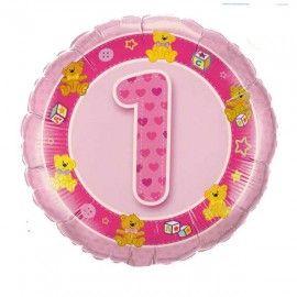 Add On Teddies (Pink) Baby 1st Birthday Balloon