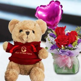 9 Inches Teddy Bear In Red Sweater and a Heart-Shaped Balloon with 3 Roses Standing Bouquet
