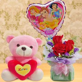 6 Inches Bear and Princess Balloon with Roses Bouquet