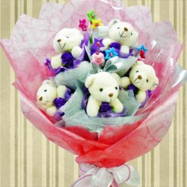 """5 Mini-Bear ( 4"""" ) With Star Tags Hand Bouquet"""