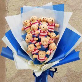 12 Mini Bear Arrange in Hand Bouquet