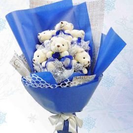 6 Mini Bear Bouquet With Wired Star Tag