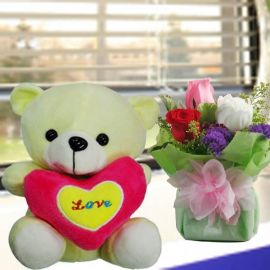 3 Roses standing bouquet With 16cm Bear