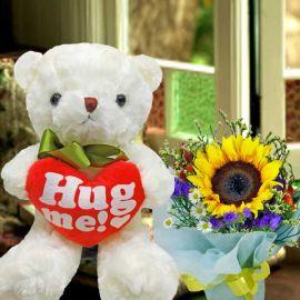 20cm (Hug Me) Bear With Sunflower Standing Bouquet