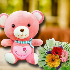 30cm Love Bear With Gerbera Flowers Bouquet