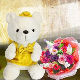 25cm Bear with Artificial Roses Posy