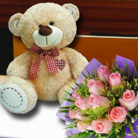 12 inches Bear with 12 Peach Roses bouquet