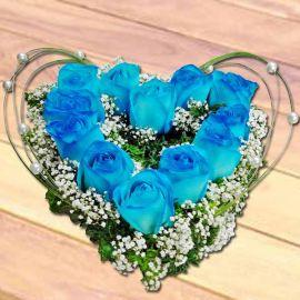 12 Blue Roses Heart-Shape Table Arrangement