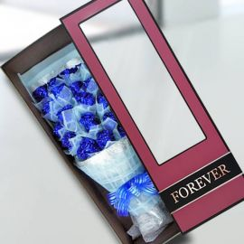 18 Shining Blue Roses Gift Box