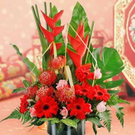 Good Luck Gerbera Flower Arrangement