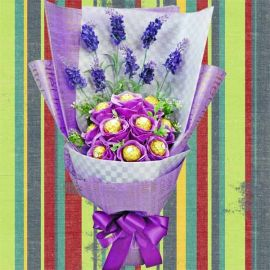 10 Rocher in Purple Artificial Roses Delivery
