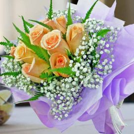 10 Champagne Roses HandBouquet