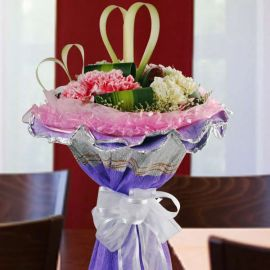 ( 4 Yellow, 4 Red & 4 Pink ) Mixed Carnation Hand Bouquet.