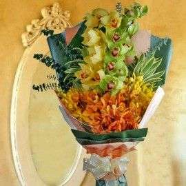 Cymbidium & Mokara Orchids Hand Bouquet