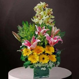 Cymbidium Orchids with Pink Lily & Yellow Gerbera