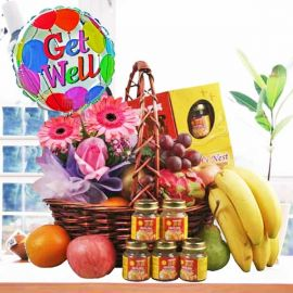 Mixed Fruits, Roses & Gerberas With Bird's Nest