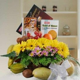 Fruits, Flowers & Foods Basket