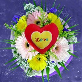 3 Pink 3 Yellow Gerberas with Heart-Shaped tag