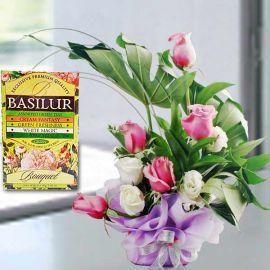 BASILUR Assorted Green Tea & Yam Color Roses Arrangement