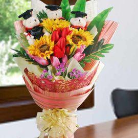 Artificial SunFlower & 3 Mini Graduation Bear Hand Bouquet