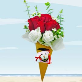 Ice Cream Cone 3 Red Roses Bouquet With Mini Graduation Bear.