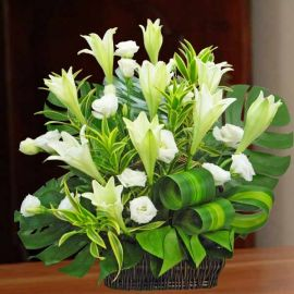 10 White Lilies Table Arrangement in Basket